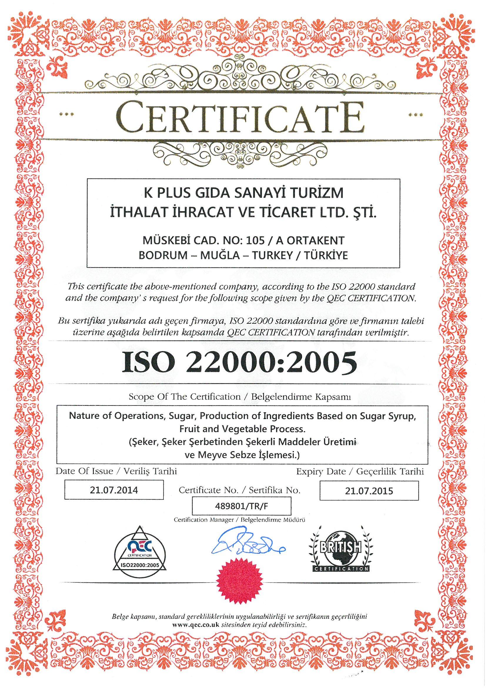 Bodrum Lokum ISO 22000