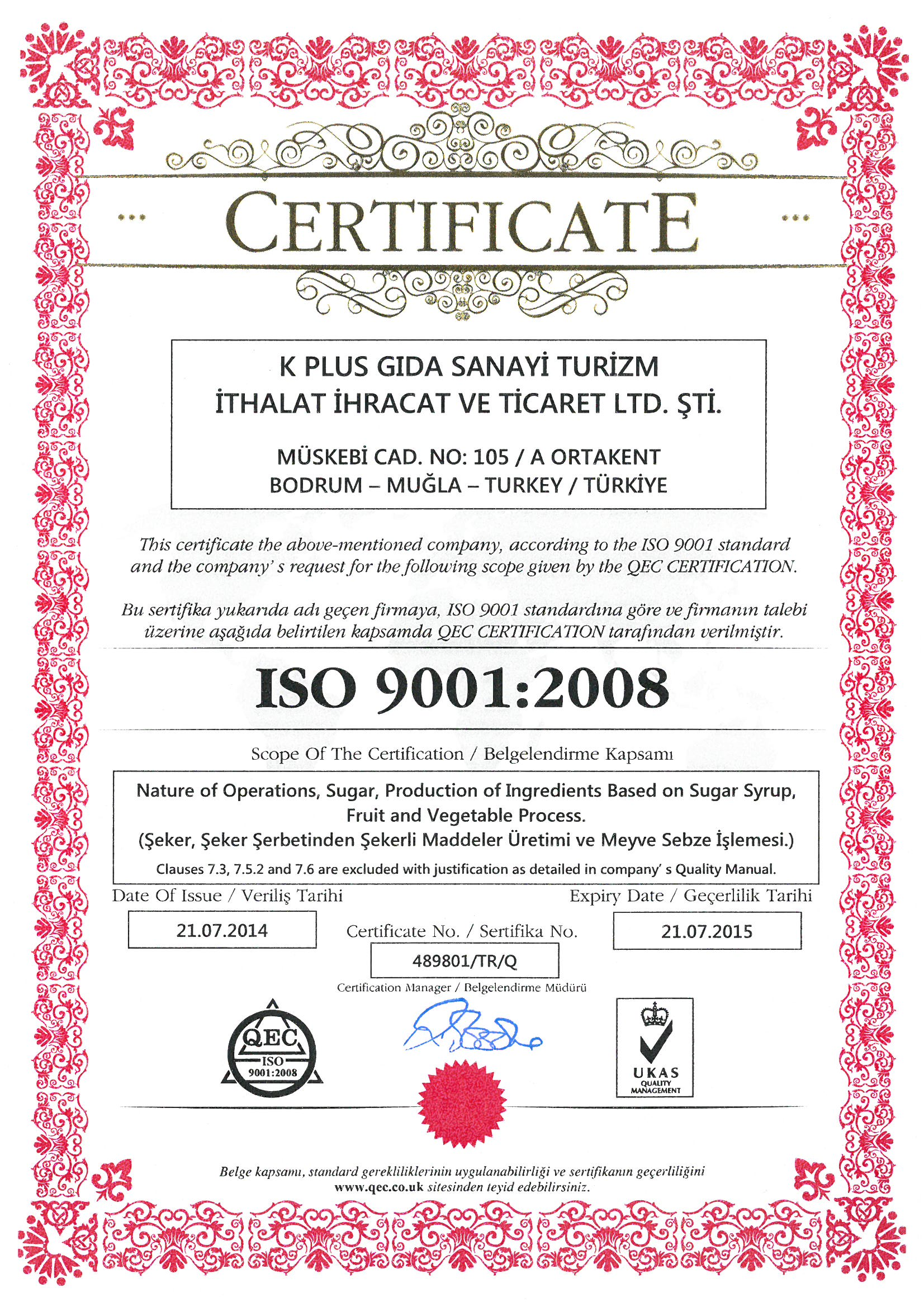 Bodrum Lokum ISO 9001